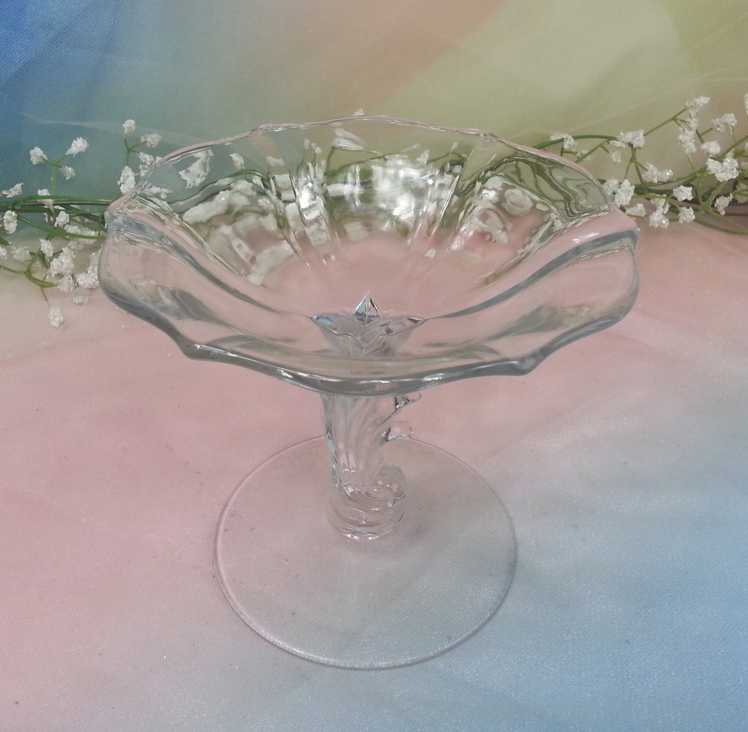Antique fostoria baroque art deco crystal clear compote for Deco baroque