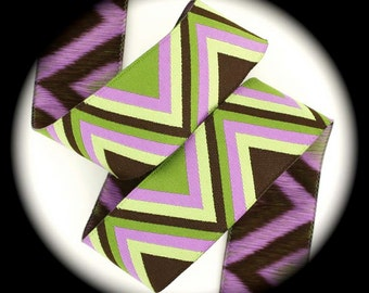 """Ribbon 1"""" x 5 yds - Orchid, Olive, Lime, Brown - Coordinates with owl ribbon shown - SALE -Chevron Woven Jacquard"""