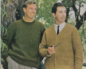 Knits for Men -  Casual Knits for Men in Totem Vintage Knitting Pattern Book No 705 - Vintage 1960s, Jumpers, Sweaters, Cardigans, Jackets