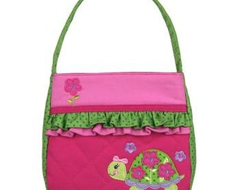 Personalized Stephen Joseph Quilted Ruffle Turtle Purse with FREE embroidery