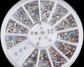 6 Styles Colorful Acrylic Nail Art Stickers Tips Glitter Rhinestone Nail Decorations