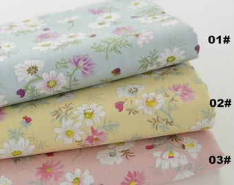 Daisy Cotton Fabric Pink Blue Yellow Daisy, Shabby Chic Fabric Daisy Flower Quilting Cotton 1/2 yard QT536