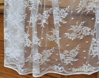 1 Yard Lace Fabric,Floral,Branches, Embroidery,Wedding,Bridal,White Color,Polyester Mesh,Cotton stretch(W19)
