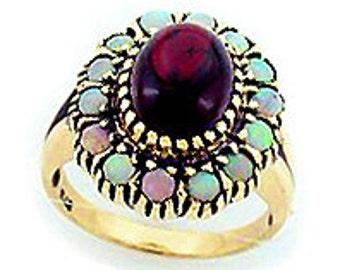 Vintage Garnet Ring, Victorian Opal Ring,9k Gold Antique Garnet, Womens Opal Ring, Also Avail in Various Gems, 14k 18k Platinum, Custom R107