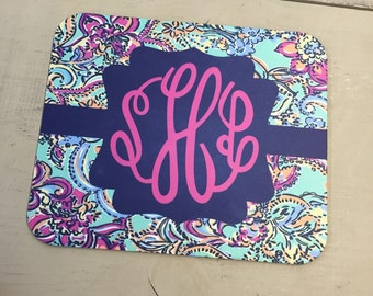 Mouse Pad Lilly Pulitzer inspired monogrammed ... 3 Styles to choose from ...Choose your print, frame and mono