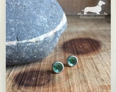 Peridot. Post Earrings -- (Green, Emerald Studs, Silver, Studs, Small, May Birthstone, Gemstone, Faceted, Vintage-Style, Cute Gift Under 10)