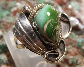 Sterling Green Turquoise Ring signed PN