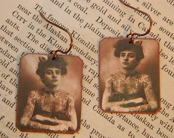 Feminist earrings tatoo jewelry Maud Wagner mixed media jewelry