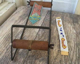 Vintage Indian Bead Loom  Display Loom with work