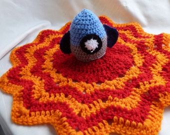 Rocket Lovey security blanket with flames