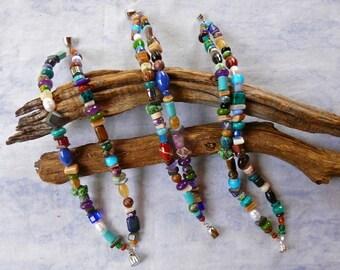 Multi-Colored, Multi-Gem Two Strand Magnetic Bracelets