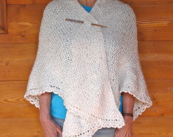 Winter White Acrylic Triangle Shawl