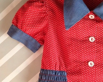 vintage girls red polka dot denim crop top with butterfly collar 4-5 years