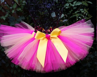Girls Tutu Skirt  Bright Yellow Hot Pink Tutu 1st Birthday Tutu Baby Girl Tutu Cake Smash Tutu