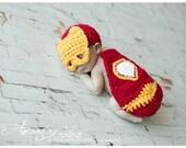 Newborn Little Iron man Baby Cover Cape and Hat Crochet Photo Prop Super Hero Set