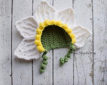 Newborn Flower Petal Bonnet Spring Photo Prop Crochet