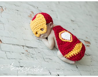 Newborn Little Iron man Baby Cover Cape and Hat Crochet Photo Prop Super Hero Set