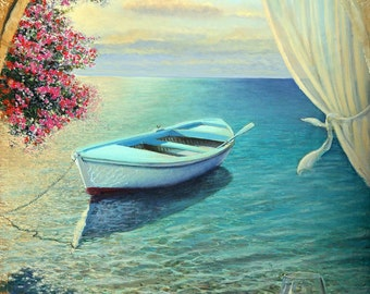La Dolce Vita.  A Poem of the Sea - Original Oil Painting on canvas by Miki Karni