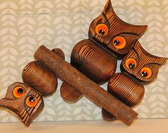 Retro Wooden Owl Trio!