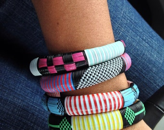 Chunky woven African bangle bracelet assorted and multicolor- set of 3
