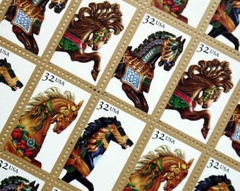 SALE! - 50 pieces - Vintage unused 1995 Carousel Horses 32 cent stamps - great for wedding invitations and save the dates