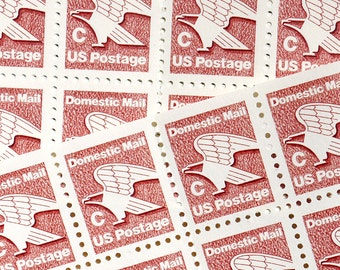 SALE! - 50 pieces - Vintage unused 1981 20 cent C-Rate Brown Eagle stamps - great for wedding invitations, save the dates