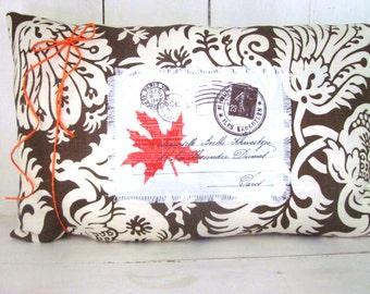 French script pillow, autumn pillows, fall pillow, carte postal decor, decorative pillows, rustic fall pillows,leaf