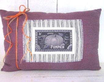 50% CLEARANCE SALE Autumn pillow, pumpkins, fall pillow, thanksgiving,shabby chic, rustic fall decor, decorative pillows, linen pillows,