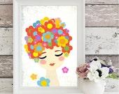 girls print, flora, folk art, beautiful girl art print