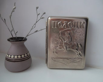"very nice vintage USSR soviet russian metal cigar cigarette case  ""POLOTSK""- 100 % original"
