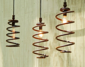 Spring Lights Hanging Industrial Pendant Lights - Industrial Shabby Rust Springs Upcylced to Pendant Lights B