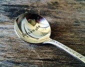 Guacamole - upcycled spoon, silver plated, recycled, hand-stamped