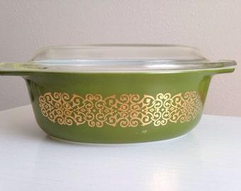 Vintage Pyrex, Green Bramble Pyrex, Promotional Green Gold Casserole, Pyrex 043 with Lid, Gold on Green Scroll, Dark Green Pyrex, Rare Pyrex