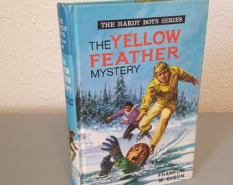 Vintage Hardy Boys Hardcover Book, The Yellow Feather Mystery, #28 Great Britain UK Collins Hardy Boys Series, Color Hardcover