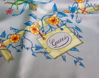 Vintage Authentic Gucci Floral Silk Scarf