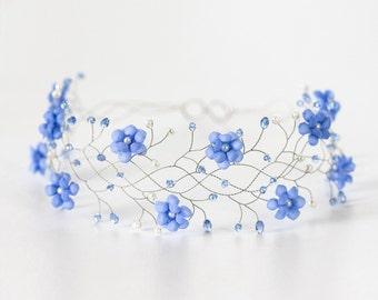 32 Blue headband,  Tiara flower girl,Silver headpiece,Wedding hair accessory,Bridal flower crown,Wedding tiara,Bridal headband,Flower crown