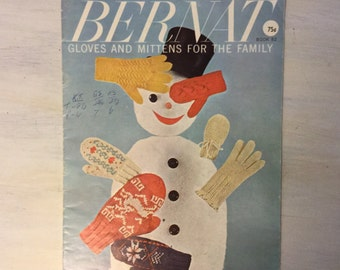 Vintage 1950s Bernat Knitted Mittens and Gloves Pattern Book