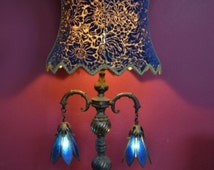 Antique Gothic Table Lamp large size Cobalt Blue slag glass w/BIG Corset velvet Shade ~Hollywood Regency early MidCentury