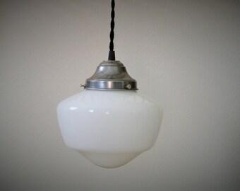 Large Schoolhouse Pendant Light - White Opal Glass & Steel