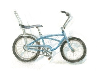 Watercolor Bike, Stingray Bike Print, Vintage Bike Print, Blue Bike Print