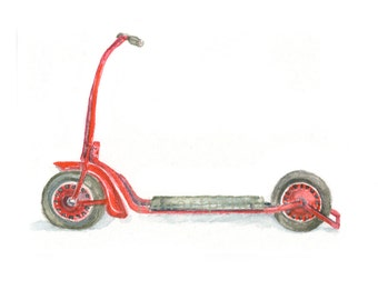 Watercolor Scooter , Scooter Print, Red Scooter Print