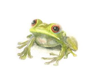 Watercolor Frog, Green Frog Print, Frog Print