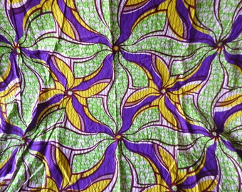 Vintage French Kitsch Cotton Printed Fabric Wax Printed Floral in Bright Colours over 3 Yards