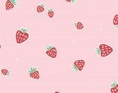 Strawberries Pink - Everyday Party - Emily Isabella - Organic Cotton - Birch Fabrics - 1 Yard