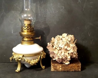 Antique French Ornate oil Lamp .Vintage Table Lamp with chimney .Kerosene Lamp.Boudoir lamp .Desk lamp