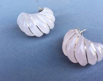Vintage 14k Rose Quartz Pink Gemstone earrings pierced ears Fine Jewelry Gift for Her