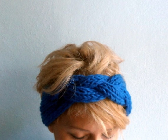 Hand Knitted Headbands Patterns : Hand Knit Headband Chunky Headband Ear Warmer Cabled Headband