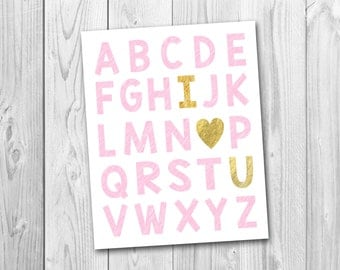 Alphabet art, nursery art, I love you print, pink and gold, ABC, instant download