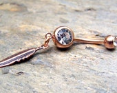 Rose Gold Belly Ring Dreamcatcher Dream Catcher Navel Ring Bellybutton Ring Feather Jewelry Piercing Body Jewelry