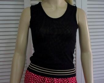 Vintage French Top Black Sleeveless Sheer Size T2 Top Liberte